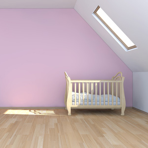 Boden, Wand und Decke des Kinderzimmers